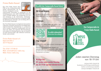 Flyer für das Campusradio Kassel