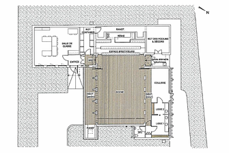 Un théâtre pédagogique, Lycée George Sand, Nérac. Mission de scénographie d'équipement auprès de Geneviève Robert architecte d.p.l.g. pour le projet de création d'un théâtre pédagogique de 60 places pour les classes d'art dramatique.