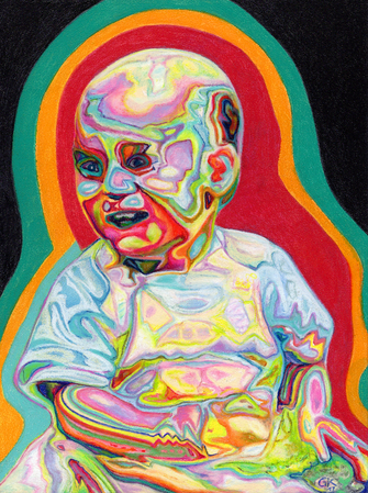Gabi Klinger, Psychedelic Baby. Coloured Pencil Drawing