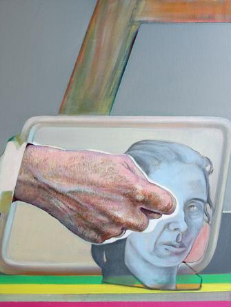 Faust aufs Auge II, 2004/2017. (Öl / BW / HDF, 40 x 30 cm)