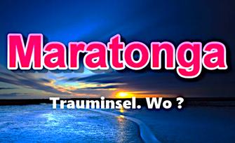 Dieses Bild zeigt einen traumhaft schönen Sonnenuntergang über einer Südesseinsel. Der Text fragt: Wo liegt die Trauminsel Maratonga us dem bekannten Schlager?