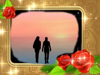 Ein Paar geht im Sonnenuntergang spazieren. Das Thema lautet: Gibt es eine schwarze Rose?