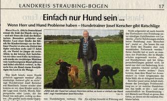 Zeitungsartikel Rudelmensch Einfach nur Hund sein