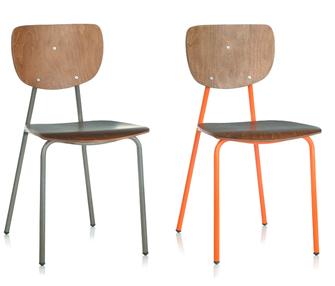 Vint silla apilable vintage asiento y respaldo de madera crom2