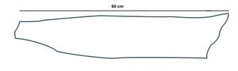 dessin précisant les dimensions d'un cuir de poisson (saumon)