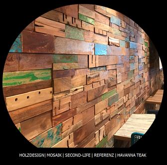 vom Monsun-Unwetter recyclte Hölzer zur Wandgestaltung in Deinem Restaurant
