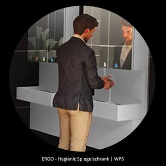 von WPS die ERGO Linie mit der barriere- u. kontaktfreien Hygiene integriert im Spiegelschrank für Handwäsche Seife und Händetrockner