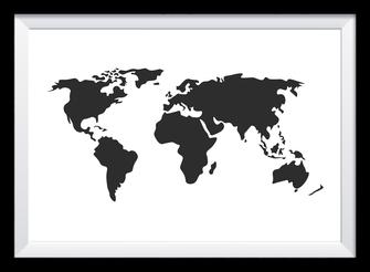 Illustration - schwarz-weiß - Weltkarte