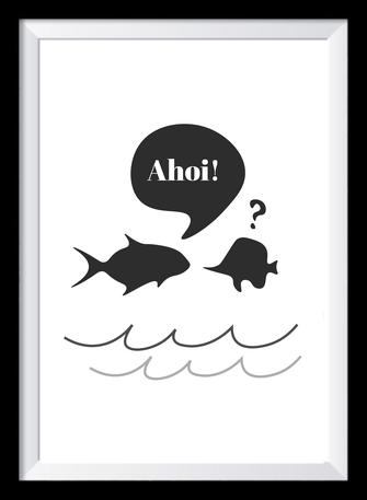 Typografie Poster, Typografie Print Lifestyle Wandbild I Ahoi