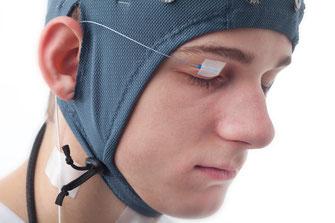 MFi BrainWave EEG Head cap + tremor sensor on the eye