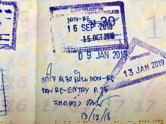 タイ、入国スタンプ、訂正、