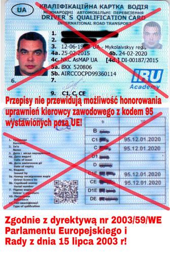 Kod 95 dla Ukrainców