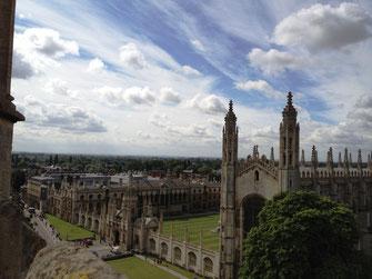 Ausblick von Great St. Mary's auf das King's College, Cambridge, UK
