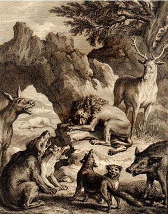 Les obsèques de la lionne,  Jean de La Fontaine, Fables choisies, 1776. (Bibliothèque municipale d'Abbeville)