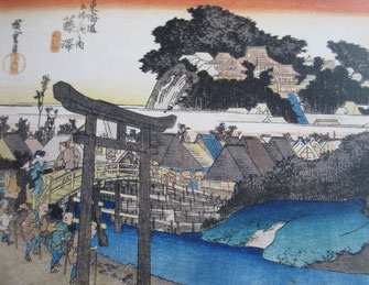 歌川広重「東海道五十三次之内 藤澤 遊行寺」(部分)