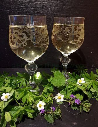 2 Weingläser mit Maitrank; Dekoration aus Waldmeister, Gundelrebe, Zitronenmelisse, Erdbeerblüten