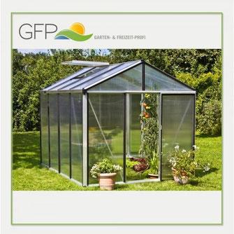 Zwei Blumenstöcke vor großem Glashaus - Flora, Gewächshaus, Garten, Gärtner, Gartenhäuser, Gemüse, Hochbeet, Ernte