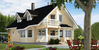 Klimafreundliches Blockhaus, Holzhaus, Holzbau, Holzhäuser, Blockhäuser, Hausbau, Holz, Wohnhaus, Blockhausbau, Einfamilienhaus, Architekt, Energieeffizienz,  Klimawandel, CO2-Fußabdruck, Klimaschutz, Kohlenstoffspeicher, Photosynthese, Emissionen