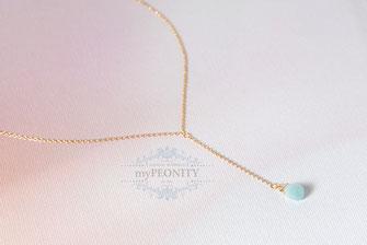 Y-Kette minimalistisch edelstein gold