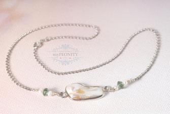 Muschelkern Perle Silber  Halskette mini Perlen Peridot