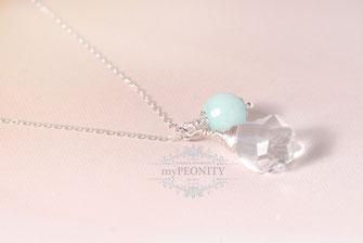 Vintage Anhänger Kristall Jade Halskette Sterlingsilber