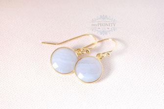 grau blaue Streifenchalzedon - Ohrringe vergoldetes Silber mypeonity