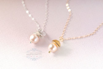 Gold Perle Anhänger mit gold filled Halskette