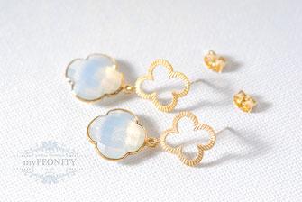 Ohrringe Kleeblatt Opalit gold blume