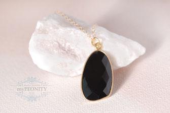 Black Onyx Anhänger Kette