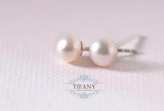 perlen buttons ohrstecker silber
