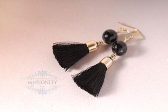 tassels quaste schwarzer onyx ohrringe