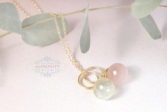 Prehnit und Rosenquarz Halskette