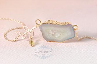 Achat Pastell Grün Geode Druse Halskette