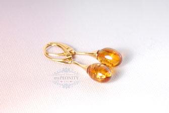Echte Bernstein Ohrringe vergoldetes Silber polen
