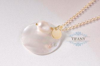 Perlen Anhänger vergoldete Kette