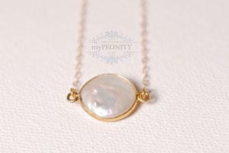 Coin Perle I  große perle Anhänger Kette