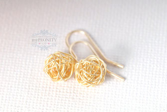 Geflecht knäuel Silber vergoldet kurze Ohrringe