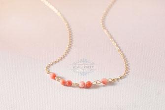 zarte Korallen - Perlen, Kette vergoldet