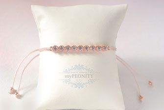 bride to be armband glitzersteine zirkonia rose vergoldet seidenband