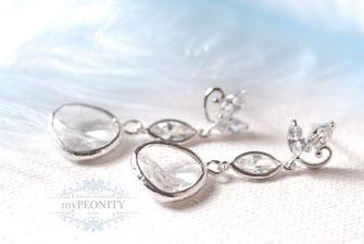 elegant glamour lange ohrstecker zirkon glasstein