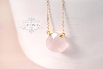 rosa Quarz Tropfen Anhänger Halskette