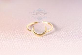 Halb Mond Ring offen vergoldet Halbmond türkischer mond sichel horn