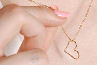 Gold filled Heart Herz Anhänger Halskette gold