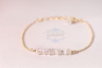 Moonstone weißer mondstein armband vergoldet