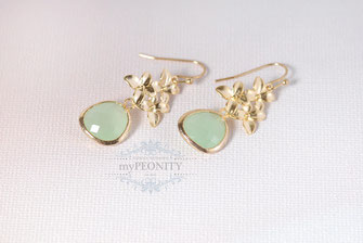 Mint Grüne Blüten Ohrringe cluster blüten glas ohrhänger