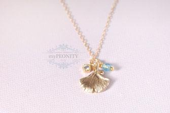 Ginko Blatt Zirkonia Kristall gold filled kette