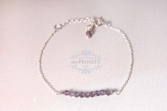 Lavendel Kristall Armband Sterlingsilber Silber