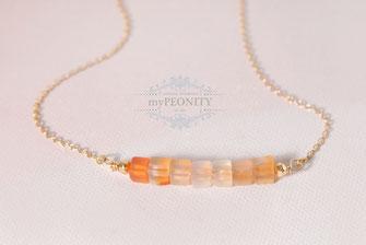 Sunrise Karneol und Pyrit Halbedelstein Halskette