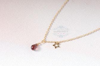 Funkelnder Granat Tropfen Halskette mit Stern mypeonity