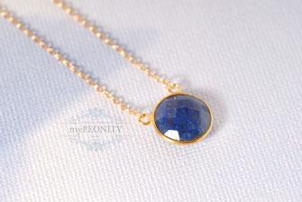 Beidseitig gehaltener runder Lapislazuli edelstein Halskette blau Gold